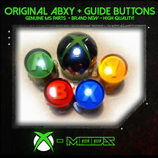 Xbox 360 Controller Replacement ABXY Buttons Set + Silver Chrome Guide Button