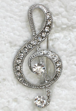 CLEAR RHINESTONE CRYSTAL LARGE MUSIC NOTE BROOCH