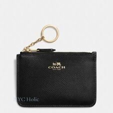 New Coach F64064 Key Pouch With Gusset In Crossgrain Leather Black NWT