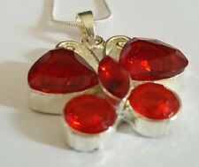 Red Crystal Butterfly, Silver .925 Pendant