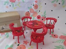 Vintage FOMERZ -Japan Doll House Table & 4 Chairs Miniature Furniture W/box Red