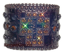 RHINESTONE BROWN CROSS CROCO LEATHER BELT CUFF BRACELET