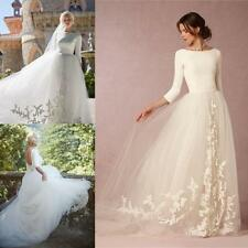 Modest Tulle A -Line Princess Bridal Gowns Long Sleeve White Ivory Wedding Dress