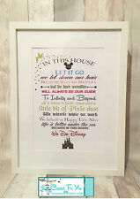 """IN THIS HOUSE WE DO"" Disney A3 framed quote A4 PRINT inside christmas present?"