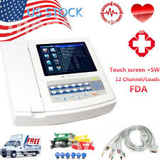 12 Channel Portable TFT LCD Digital Electrocardiograph ECG EKG  +SW ECG1200G Hot