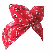 Rojo Estampado cachemir Alambre Diadema Rockabilly Retro Pin Up Hair Wrap-Bandana
