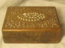 vintage carved wood box inlaid wooden flower carving India inlay container