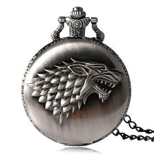 Retro Steampunk Men's Game of Thrones Direwolf Stark House Quartz Pocket Watch