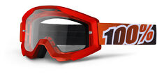 100% MX Motocross STRATA Goggles (Fire Red w/ Anti-Fog Clear Lens)