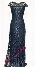 Tadashi Shoji Navy Sequin Lace Off Shoulder Cap Sleeve  Formal Gown Size 12 $508