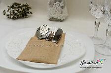 Toile de jute couverts titulaire de hesse argenterie pochette rustique mariage fête décoration sac 12