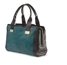 Foley + Corinna Leather And Haircalf Satchel Turquoise handbag  $495.00