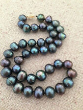 huge 18''11-12mm baroque tahitian black green pearl necklace