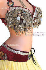 Maroon Velvet Belly Dance Bra/Belt SET 38D  Gypsy Tribal Fusion Burlesque