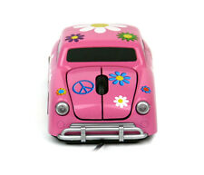 Flower VW Beetle USB PC Computer Optical Wired Car Mouse - Pink