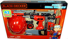Black and Decker Junior Mega Tool Set W/ Hard Hat Drill Saw 42 Tools Playset MIB