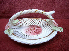 VINTAGE  FLORENTINA  WOVEN  CERAMIC  BASKET  HAND  MADE  IN  ITALY
