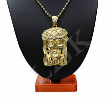 "Mens Gold Clear Iced Out Cz Crystal Jesus Face Pendant Necklace 36"" Ball Chain"