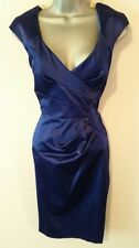 BNWT New LIPSY Navy Blue Satin Wrap Pleat Pencil Wiggle Dress size 8