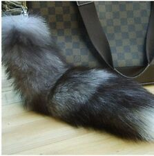 "Super Large Gary Fox Tail Keychain Fur Tassel Bag Tag Charm 16""-18"""