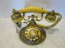Vtg SOLID BRASS VINTAGE FRENCH STYLE ROTARY DIAL PHONE TELEPHONE CAMEO KOREA