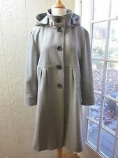DKNY Gray Wool Blend Button Up Removable Hoodie Coat *Women 14 **NWOT**