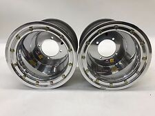 "DWT 10"" 10x9 3+6 Rear Beadlock Wheels Rims Polished Honda 450R 400EX 250R NOS"