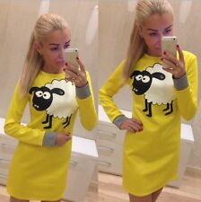 Womens Casual Shaun Sheep Bodycon Long Sleeve Sexy Evening Party Prom Mini Dress