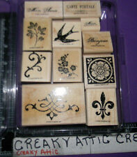 STAMPIN UP CARTE POSTALE 11 RUBBER STAMPS SWALLOWTAIL BIRD FLEUR DE LIS BONJOUR
