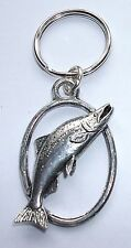 SALMON Fish PEWTER KEY RING, ideal for Keys, Bags, Collectables (XTSBKKF19)