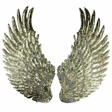 1Pair New Sequin Beaded Angel Wings Patch Iron on Applique Mirror Embroidery DIY