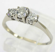 Diamond engagement ring past present future 14K white gold 3round brilliant .65C
