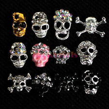 12x Alloy Crystal Skulls Skeleton Acrylic UV Gel 3D Nail Art Decoration + Wheel