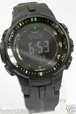 PRW-3000-1A Black Casio Watch Tough Solar Pro Trek Resin Compass LED back light
