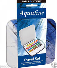 Daler Rowney Aquafine water colour half pan watercolour travel set.  Tin of 24