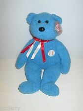 "TY BEANIE BUDDY ADDISON BEANIE BUDDIES BLUE BASEBALL PLUSH TEDDY BEAR 13"" TALL"