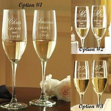 Wedding Champagne Flutes - Engraved Set of 2 Bride & Groom Glasses, Personalized