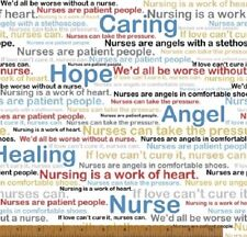 CALLING ALL NURSES ANGEL HEALING HOPE CARING WORDS FABRIC