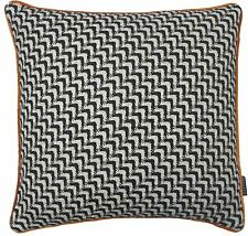 "WOOL BLEND KNITTED ORANGE BLACK WHITE FAUX SILK CUSHION COVER 18"" - 45CM #ONOM"