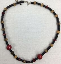 Chicos Necklace Black Red Silver Tone Chunky Beaded Chain Stacked Disk