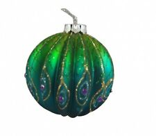 Gisela Graham Ribbed Peacock Glass Bauble - Beautiful Hanging Tree Decoration