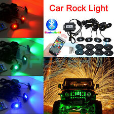 RGB LED Rock Lights Aluminum Wireless Bluetooth Music Accent Under Car Jeep 4WD