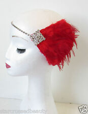 Red Silver Feather Headpiece Flapper 1920s Vintage Headband Great Gatsby 30s N93
