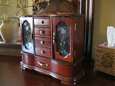 Vtg Style Wood Jewelry Box  storage 2 mirrors 5 drawers  Necklace & Ring holders