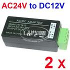 2 PCS AC 24V to DC 12V Power Converter Adapter Balun for CCTV Security Camera AU