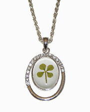 Crystal Elegance Lucky Real Four Leaf Clover Costume Pendant