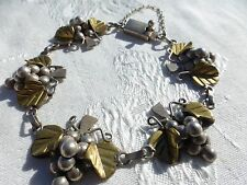 "GORGEOUS Large VINTAGE Mexican STERLING GRAPES w/Leafs SILVER BRACELET 8"" Nice"