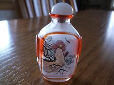 JAPANESE CHINESE SNUFF BOTTLE  ANTIQUE RED MASKS, DRAGON FLY FLOWERS
