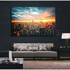 "New York City Sunset Cityscape Silk Cloth Poster Picture Home Wall Decor 36""x24"""