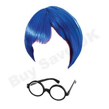 CHILDRENS KIDS GIRLS CHILD BLUE INSIDE OUT WIG & GLASSES SADNESS FANCY DRESS